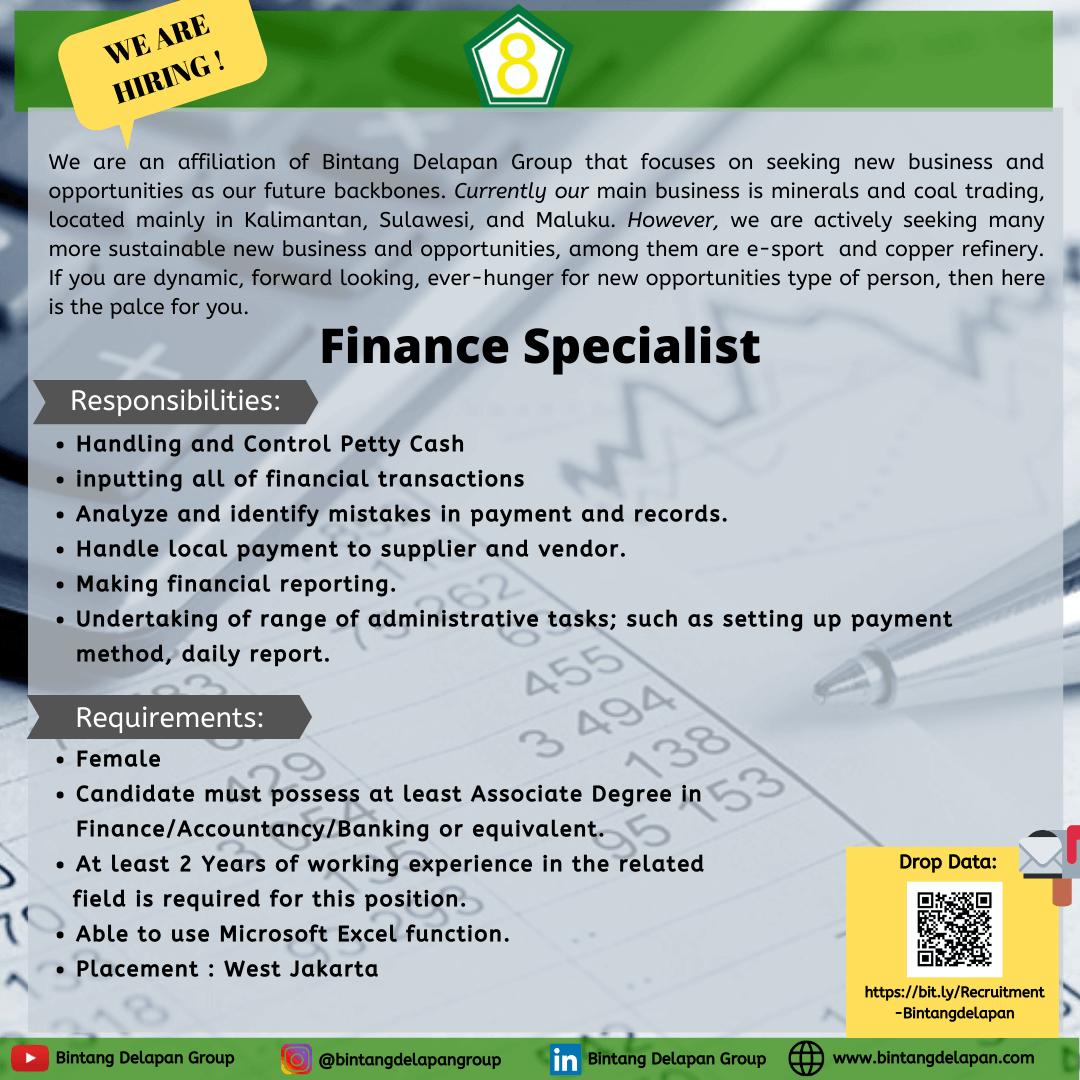 Bintang Delapan Group open Vacancy for Finance Specialist - MyRobin