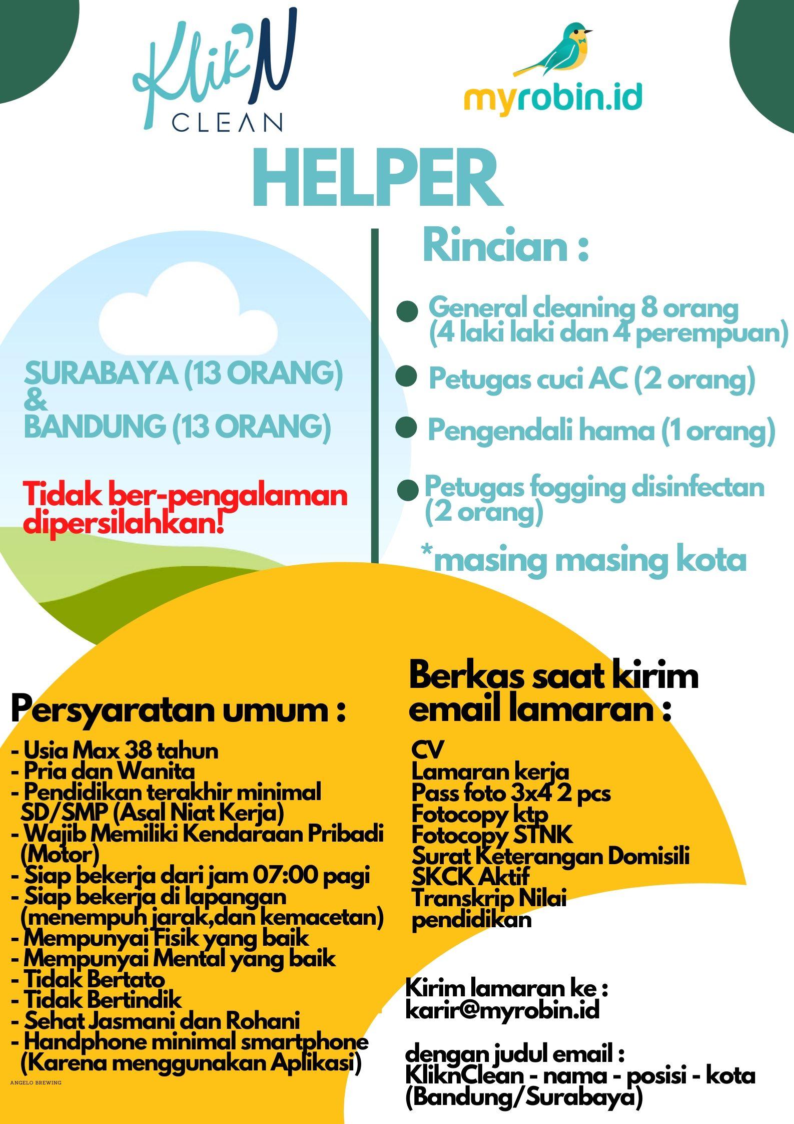 KliknClean buka lowongan untuk Bandung & Surabaya - MyRobin