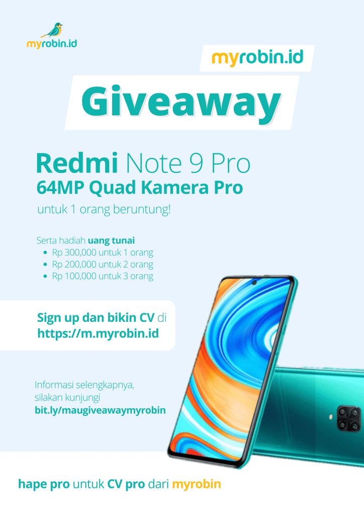 Myrobin Giveaway Redmi Note 9 Pro dan uang tunai senilai 1 juta Rupiah - MyRobin