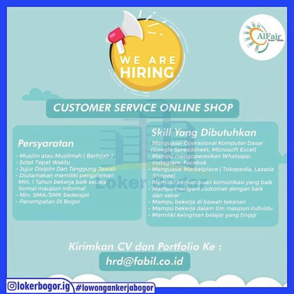 Alfajr membuka lowongan untuk Customer Service Online Shop, penempatan Bogor! - MyRobin
