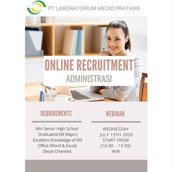 PT Laboratorium Medio Pratama membuka lowongan Administrasi, menggunakan sistem tes online pada 15 July 2020! - MyRobin